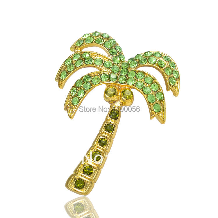 Free Shipping 2015 Fashion Jewelry Green Tree Brooch Crystal Broches Mujer Cute Women Broaches X0870(China (Mainland))
