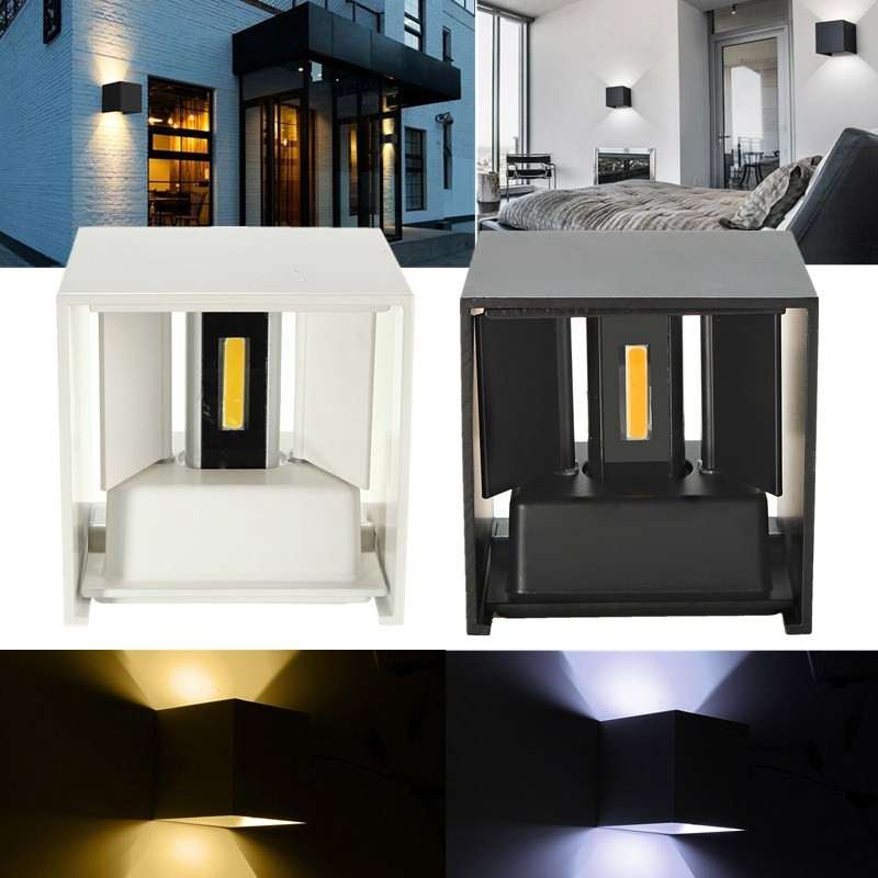 Waterproof Modern Outdoor LED Cube Wall Lamp Up And Down Adjustable Light Angle COB Aluminum AC85-265V 6W LED Porch Light