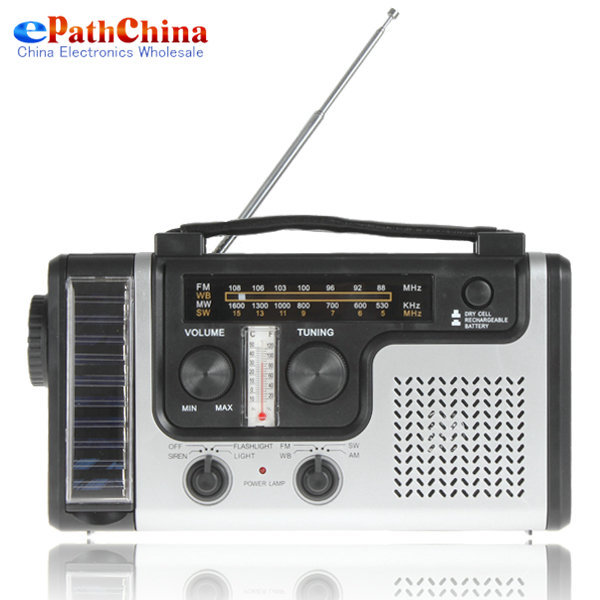 Portable Crank Solar AM FM SW Shortwave Radio Receiver with Flashlight/ Solar light Emergency Charger, Free Shipping(China (Mainland))