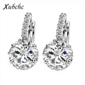 Gift Box Packing 9 Color Real Pure 925 Sterling Silver Zircon Earrings For Women Crystal Stud
