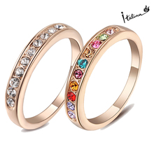 Italina Rigant 18K Rose Gold Plated Genuine Austrian Engagement Ring With Swarovski Crystal Stellux Cubic Zirconia #RG91645