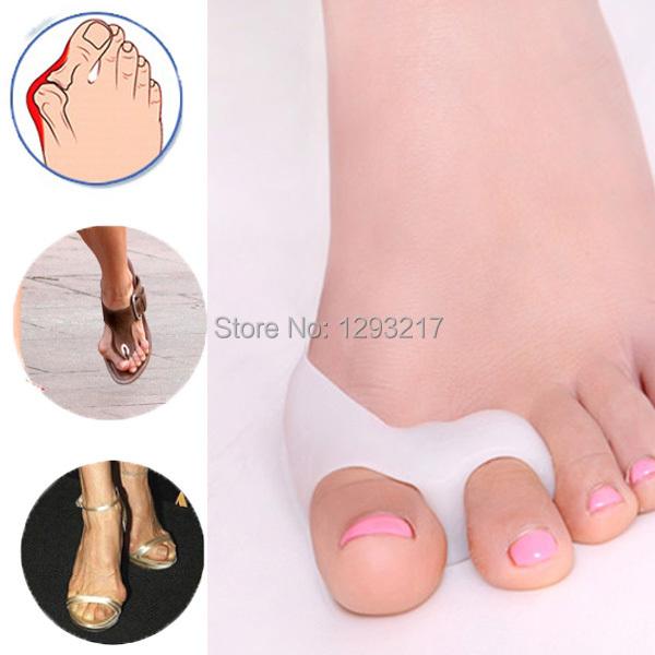 1Pair Silicone Gel foot fingers Two Hole Toe Separator Thumb Valgus Protector Bunion adjuster Hallux Valgus
