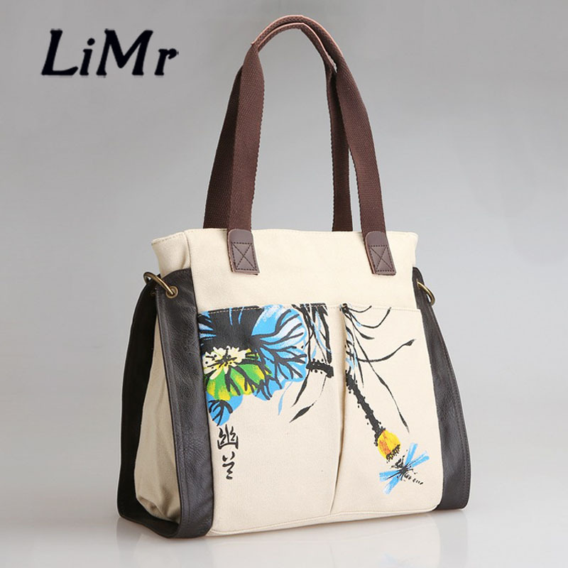LiMr Boutique Bags Vintage National Women Canvas Shoulder Bags Genuine Leather Patchwork Classical Flore Print Handbags for Lady<br><br>Aliexpress