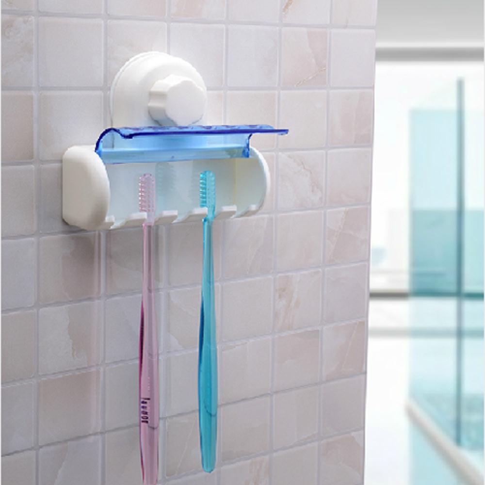 New 5 in 1 White Bathroom Decor Stong Vaccum Suction Wall Toothbrush Holder Wonderful Gift(China (Mainland))