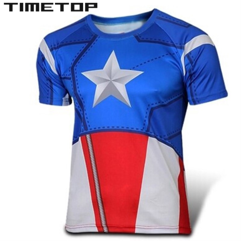 American captain superhero t shirt men 2015 women boys Boys superhero t shirts