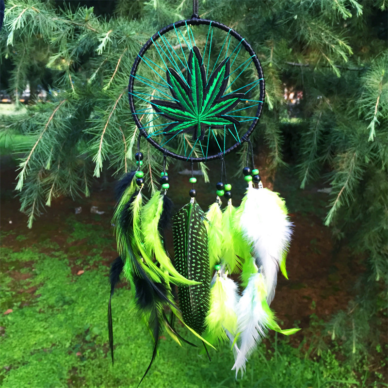 Artistic 12*35cm Wind Chimes Indian Style native American dream catcher tapestry leather dream catcher for room car decorate(China (Mainland))