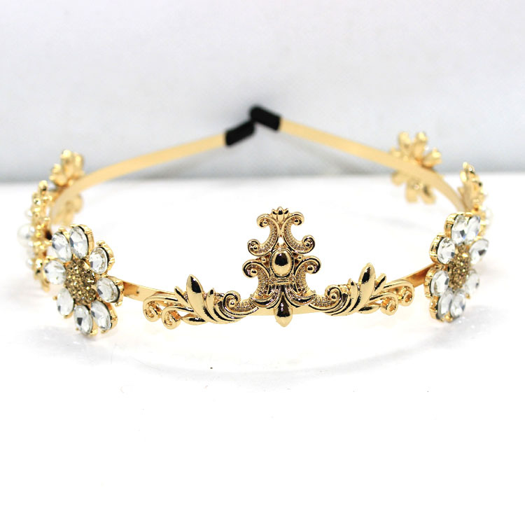 New European baroque alloy jewel Gem flower hair hoop pearl crown head band elegant wedding Hair Accessories(China (Mainland))
