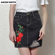 Buy Floral Embroidery Denim Skirts Women 2017 Ripped Slim Short Skirt A-Line Women's Retro Ethnic High Waist Mini Skirts Cowgirl for $13.01 in AliExpress store