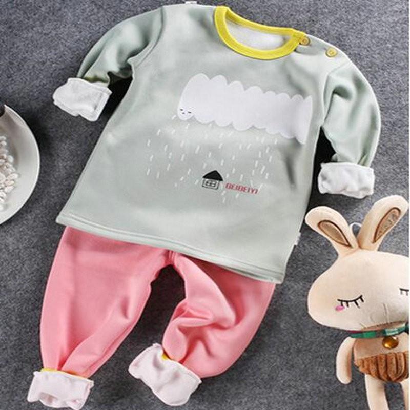 New Year costumes for kids pattern tracksuit girls clothing sets winter fleece shirt + pants kids sleepwear pyjamas suits KD174