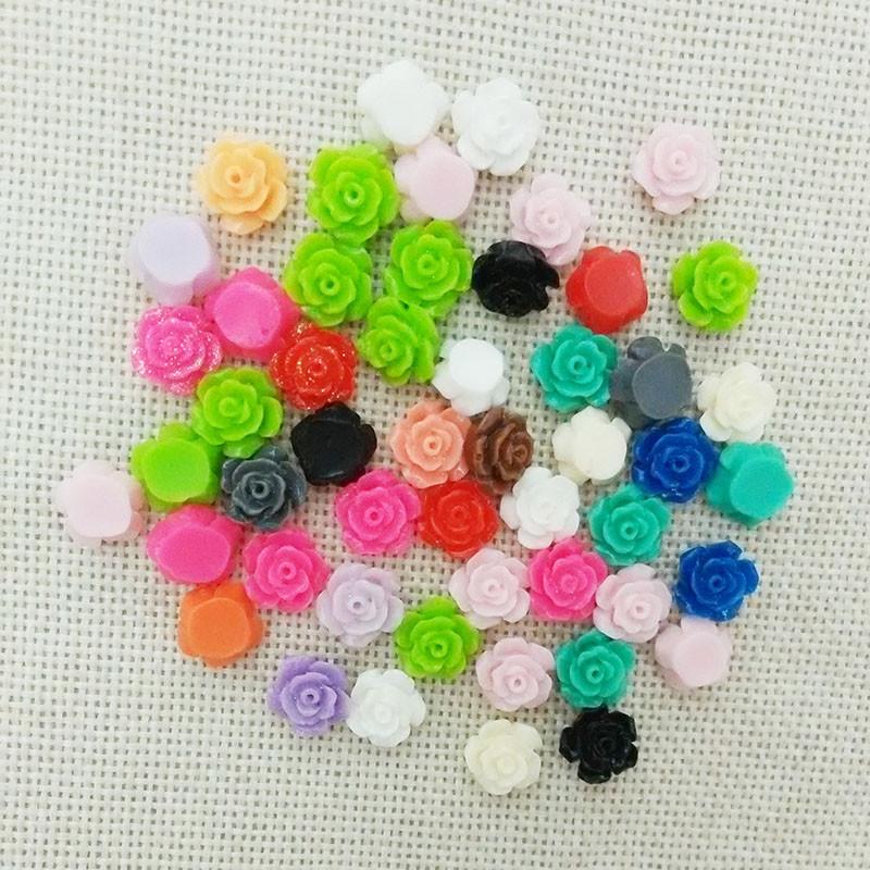 25pcs flowers cabochons cameo flat back no hole loose beads rose phone case headband glue on resin embellish ornament pendants(China (Mainland))