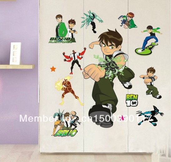 50cm 70cm boy wall sticker ben 10 stickers cartoon mural for Children s mural wallpaper