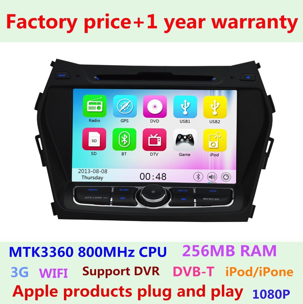 2014 Touch Screen Car DVD GPS Navigation Player for Hyundai Santa FE IX45 2013 2014 Radio 3G WIFI Bluetooth USB SD 800MHZ CPU(China (Mainland))