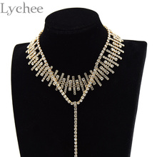 Buy Bling Rhinestone Choker Necklace Long Chain Pendant Gold Crystal Statement Necklace Collar Collier Party Jewelry Women for $5.24 in AliExpress store