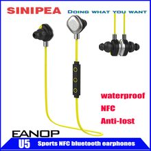 New arrival EANOP U5 waterproof  wireless stereo bluetooth earphone headphone headsets Support NFC anti-lost reomote camera