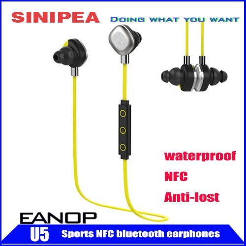 Hotsale Earphones Waterproof Wireless Stereo Bluetooth Earphone Headphone Headsets Support NFC anti-lost EANOP U5(China (Mainland))