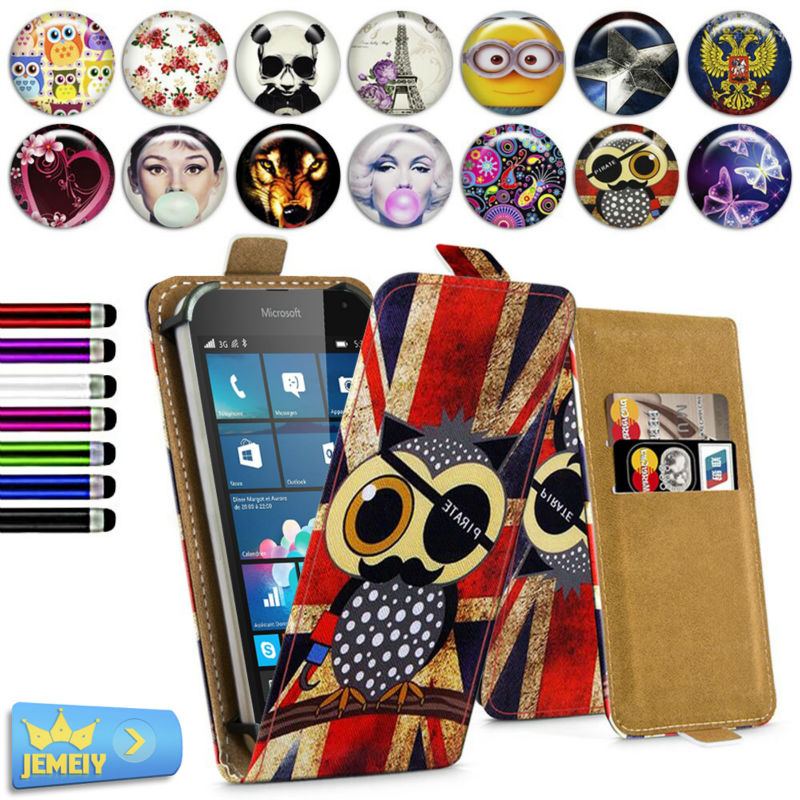 Leather Cases For Nokia Lumia 430/435/520/530/535 Case, Printed Universal Stand Flip Case Cover For Nokia 535 Phone Small size(China (Mainland))