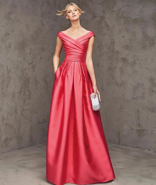 Новое Прибытие Жилетidos де феста Cap Рукавом Мода Красный Элегантная Атласная V-образным ...