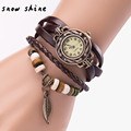 snowshine 30 Women Girl Vintage Watches Bracelet Wristwatches leaf Pendant Coffee free shipping