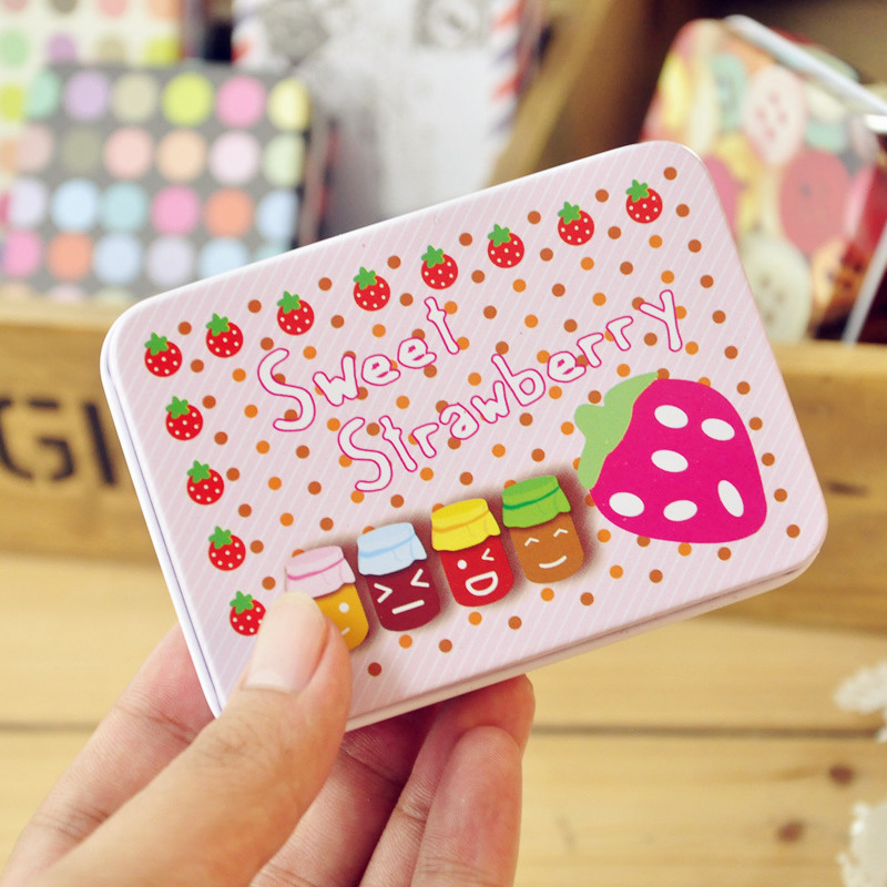 Fashion Lovely Cartoon Portable Jewelry Buttons Candy Storage Iron Box Debris Bins Rectangular Home Mini Storage Box(China (Mainland))