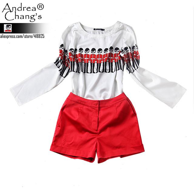 2013 лето осень дизайнер новый комплект женская одежда три четверти рукав белый верх ...