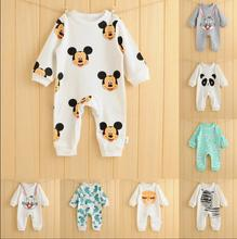2016 spring summer baby clothing cartoon baby girl rompers 100% cotton baby boy clothes jumpsuit, newborn wear bebes  0-2 years(China (Mainland))