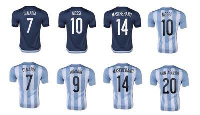 Top Thai +++ 2015 KUN AGUERO MESSI Argentina Argentina soccer jersey jersey maria DI 15 16 TEVEZ Argentina football shirts(China (Mainland))