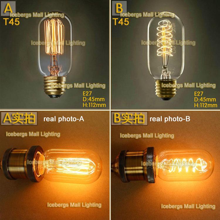 Vintage Edison Light Bulb E27 40W 110V 220V T45 Incandescent Bulb for pendant lights(China (Mainland))