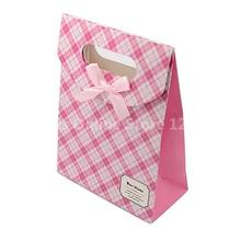 Pink Tartan Paper Gift Bags with Ribbon Bowknot, 16.5×12.5×5.6cm