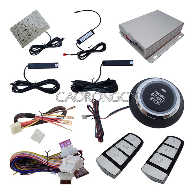 Car PKE Alarm System Remote Start & Smart Password Keyboard Finger Touch Engine Start Stop Push Button(China (Mainland))