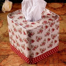 Vintage Home Decoration Toilet Tissue Box Napkin Holder Cover Red Floral Pattern 12.5*12.5*12.5 Cm Free Shipping(China (Mainland))