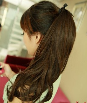 """A+++,22"""" 65G india Blended hair Silky wavy Ponytail Hair(#2 black,#2t33 deep brown,#2t30 light brown)"""