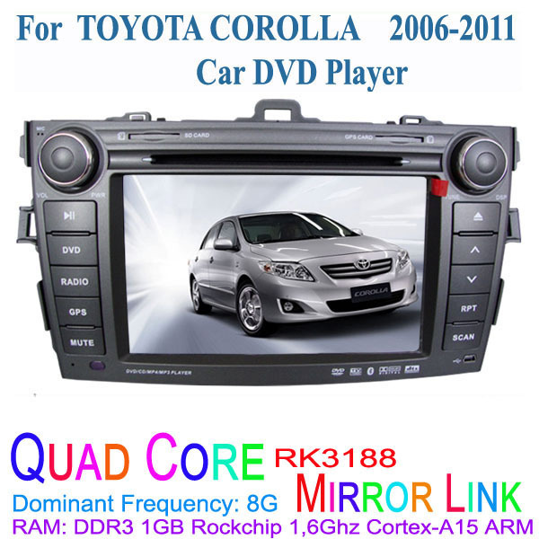 Fit TOYOTA COROLLA 2006 2007 2008 2009 2010 2011 1024*600 Quad Core Android 4.4.4 Car DVD Player GPS 3G TV Radio(China (Mainland))