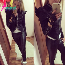 New fashion women's black color long sleeve PU leather wings zipper coat/jacket/outwear(China (Mainland))