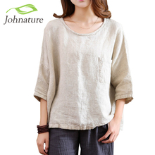 Johnature 2017 Spring New Women T-Shirts Original Half Sleeve Cotton Linen O-Neck Loose Casual High Quality Summer Top(China (Mainland))