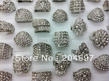 25pcs Rhodium Plated Crystal Rhinestone Wedding Rings For Women