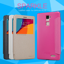 10pcs For OPPO R7 Plus NILLKIN flip cover luxury Sparkle super thin protective Leather Case + Retailed Package