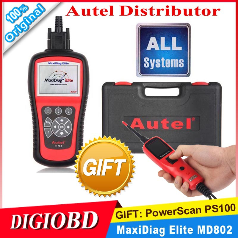 2015 New AUTEL MaxiDiag Elite MD802 ALL system+DS model 4 in 1 auto scanner Original MD 802 PRO (MD701+MD702+MD703+MD704)(China (Mainland))