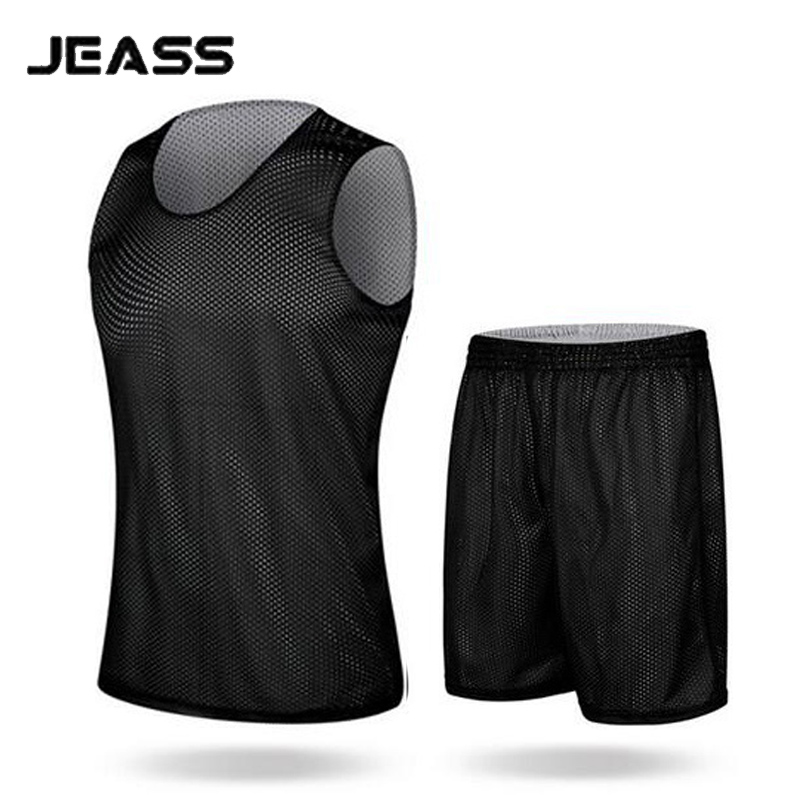 JEASS Men's Basketball Jerseys Double-sided Wear Sets for Men Basketball Clothes Suits Breathable Male Basketball Training Suit(China (Mainland))