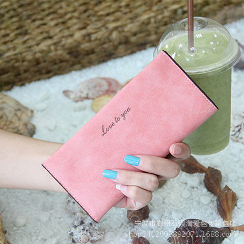 10 Colors Summer Style 2015 Matte Leather Women Long Wallet Clutch Bag Lovely Card Holder Bag Super Thin Purse Wallet Wristlet(China (Mainland))