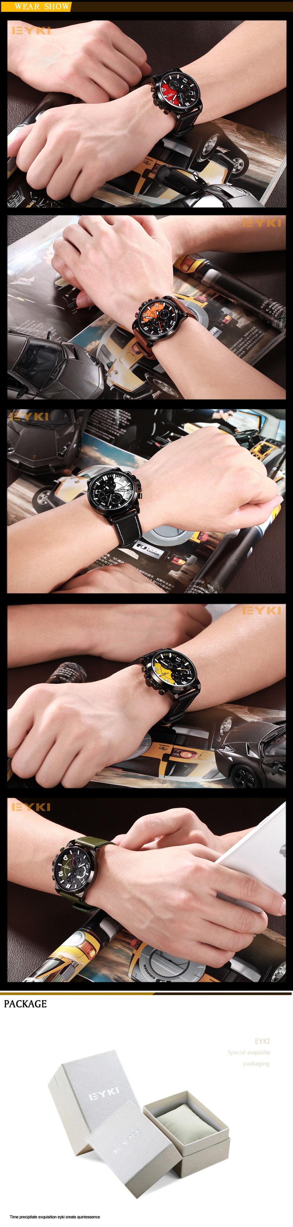 Марка EYKI многофункциональный Аналоговый Военные Часы Водонепроницаемые Часы Люксовый Бренд для Мужчин с логотипом Кварцевые Часы