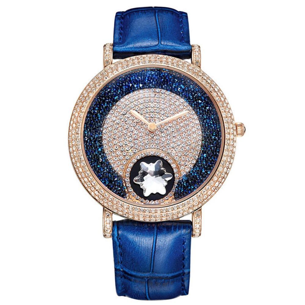 МАТИСС Леди Vogue Полный Кристалл Кожаный Ремешок Мода Кварцевые Часы Наручные Часы-Синий