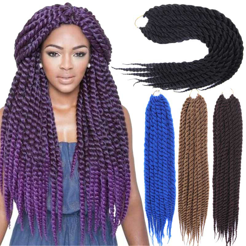Quality Crochet Hair : Hair 24 Long Wavy Crochet Braids Hair Marley Braid Hair High Qualit...