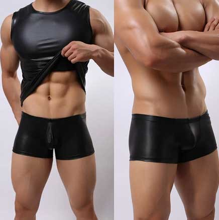 Saxx Men Faux Leather T-shirt Slim Men Latex Men's Clothes Costumes Performance Wear O-neck Short-sleeve Tight Shirts Black S-L(China (Mainland))