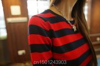 Осень женщин трикотажные свитера леди локтя полосой свитера пуловеры бренда женщин свитер красочные хлопок