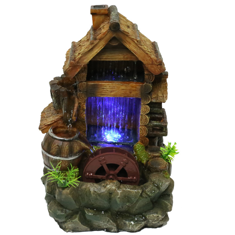 Artificial Wood House Water Curtain Water Fountain Office Desktop Home Decoration Resin Bonsai