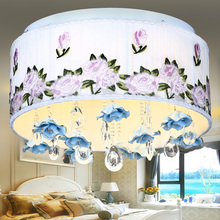 Cloth master bedroom romantic crystal lamps modern ceramic led ceiling light lighting brief(China (Mainland))