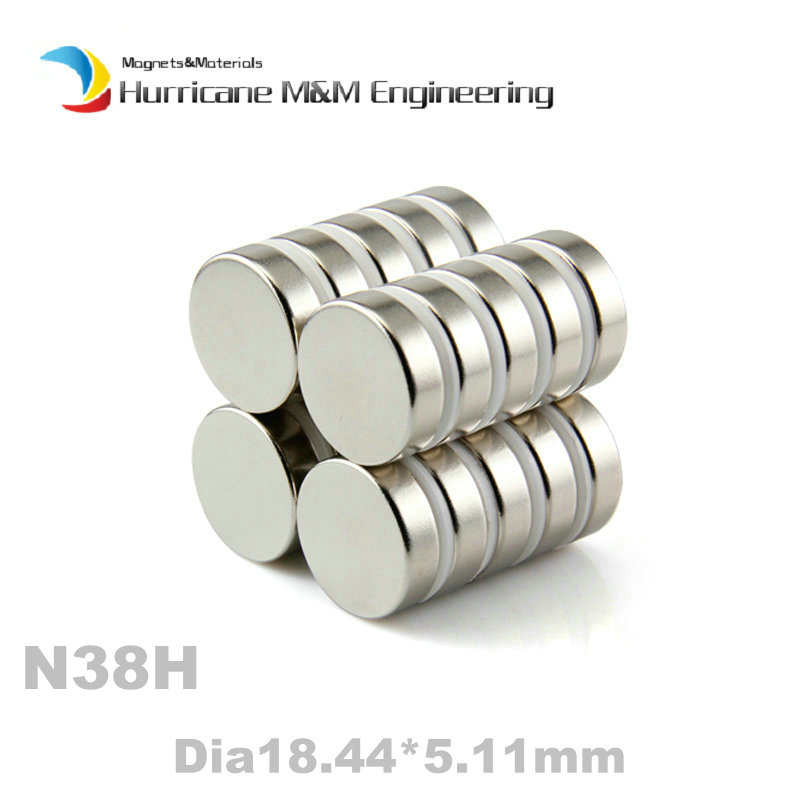 200pcs N38H NdFeB Disc Magnet Dia. 18.44 x 5.11mm thick 0.73 High Temperature 120 degree C Strong Neodymium Permanent Magnets<br><br>Aliexpress