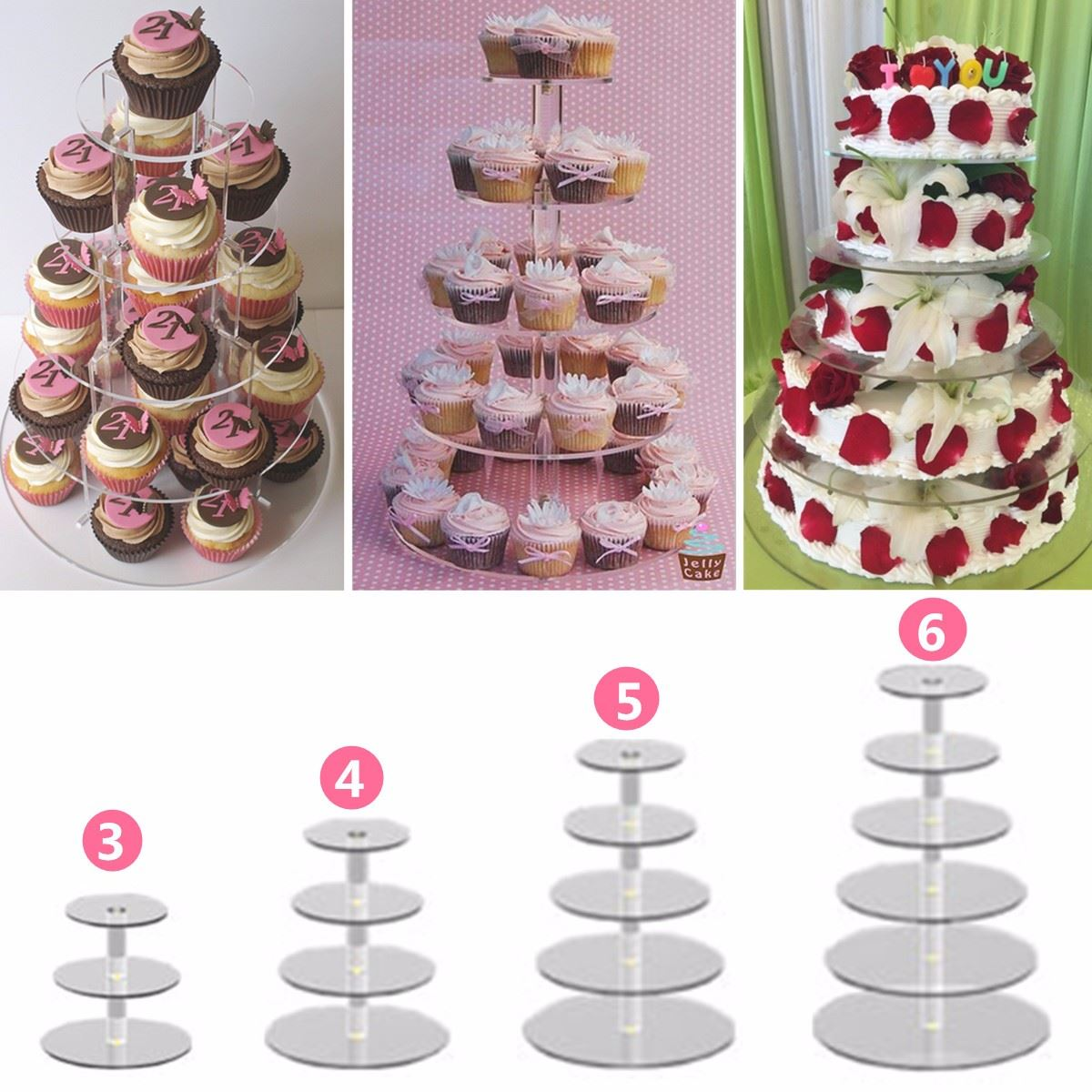 Transparent Acrylic Cake Stand Round Cup Cupcake Holder Wedding Birthday Party Events Dessert Display Stand 3/4/5/6 Tiers(China (Mainland))