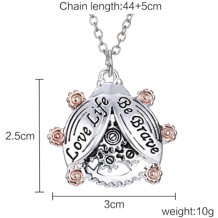 10pcs/lot Newest Stempunk Necklaces '' Love Life Be Brave '' Animal Beetles Pendant Necklaces Jewelry With Links Chains(China (Mainland))