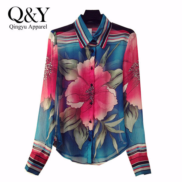 Blusas Femininas 2015 Long Sleeve Vintage Flower Print Chiffon Blouse Shirt Women Casual summer style Tops women Blouses T28781S(China (Mainland))